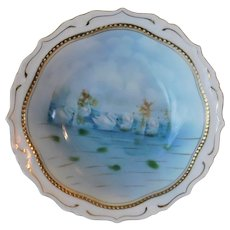 Antique JPSV Germany Quad Footed Swans on Water Transferware Bon Bon Porcelain 7.25inch Bowl with Gold Gilt Accents