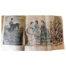 1871 Peterson's Magazine 6 Months Bound Fashion Color Plates Literature Poetry Needlework Clothing Patterns Styles