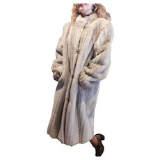 Luxury Faux Champagne Mink Fur Mandarin Collar Classy Coat 3/4 Long Length at 44inches XL 1950s-1960s Vintage