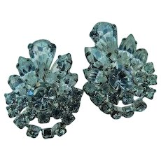 Stunning Sparklers Art Deco Ice Clear Crystal Rhinestone Clip On Earrings Navettes Pear & Rounds