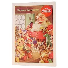 1953 Vintage Santa Claus Coca-Cola Coke Advertising Ad Print Elves Elf Toys Christmas
