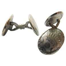 Art Nouveau to early Art Deco Detailed 10K White Gold Plated Fill HWK Co. Oval Cufflinks Two Sided Engine Turned Cuff Links
