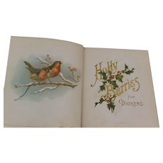 1898 Holly Berries From Charles Dickens Victorian Antique Gift Book Illustrated Daily Readings December 1 to December 31