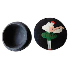 Art Deco Made in France Celluloid Pierrot Hand Painted Make up or Trinket Pill Box Harlequin Playing Mandolin