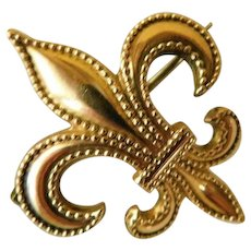 Antique Fleur De Lis Watch Holder Chatelaine Brooch Pin Gold Plate Fill Gilt Victorian To Edwardian P.S. CO
