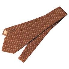 Gucci Silk Italy Dachshund Dog Tie in Cocoa Brown Logo on Front Italian Necktie Dachsie 57inches