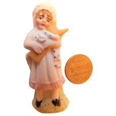 Antique German Bisque Doll Sweet Colonial Girl 2inches