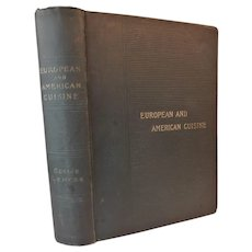 1895 European and American Cuisine First Edition by Gesine Lemcke Antique Cookbook Cookery Receipts Recipes Cooking Victorian