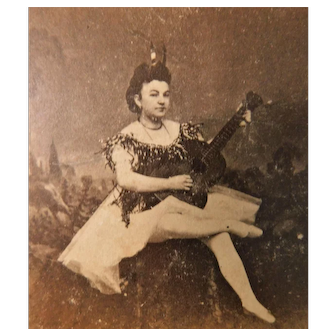 Victorian Stage Actress Playing a Guitar Stereoview for Stereo-optic Viewer 3D Photograph Risque Antique