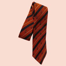 Vintage Liberty of London Wool Blend Tie Equestrian Horse Stirrups & Riding Helmets Neckties