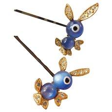 Vintage Lucite Moonglow Bunny Rabbit Barrette Bobby Pins Set Crystal Enamel Hair Ornaments