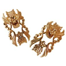 Vintage Bluette Made In France Floral Flower Themed Shoe Clips Set in Bright Yellow Gold Tone