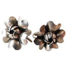 Stamped Sterling Silver Flowers Screw Back Earrings Vintage