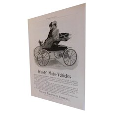 1899 Original Victorian Ad Woods' Moto-Vehicles Fischer Equipment Company Electric Horseless Carriage Automobile Antique Advertising $875 Car