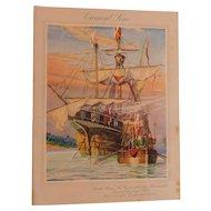 1927 Cunard Line Print Santa Maria Columbus Illustration R.M.S. Aquitania Steam Ship Cruise Luncheon Menu Art Deco