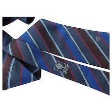 Gucci Made in Italy Pure Silk Tie Necktie Light Fuse Theme Blues Gray Reds Brown 57inches