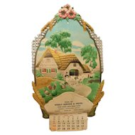 Embossed Western Germany Die Cut Mica Wall German Calendar Top Thatched Cottage Farm Cows and Chickens Advertising Stekly Service & Motel Wagner South Dakota