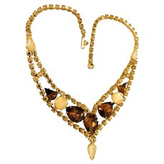 Vintage Circa 1960s Crystal Rhinestone Necklace Choker Moonglow Givre Jonquil Yellow Root Beer Brown Topaz