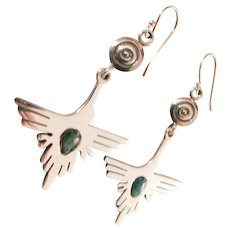 Sterling Silver Southwest Turquoise Thunderbird Phoenix Bird  Earrings Long Dangles Native American Indian themed 925