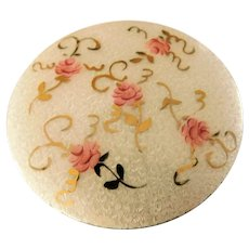 Guilloche Enamel Hand Painted Roses Brass Compact Mirror Powder Travel Purse