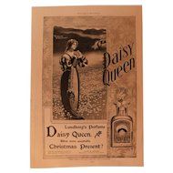 1899 Daisy Queen Lundborg's Perfume Ad Victorian Advertising Lady with Flowers Advertising Scent Bottle Antique