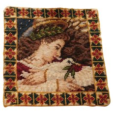 Wool Needlepoint Tapestry Lady with Flowing Hair and Dove of Peace 9.5inches