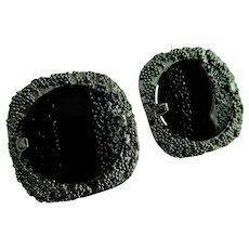 Judy Lee Signed Big Vintage Chunky Black Glass & Silver Tone Metal Clip On Earrings