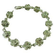 Detailed 3D Rose Flowers Link Sterling Silver Bracelet 925