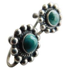Vintage Sterling Silver Southwest Native American Earrings Screw Back Green Blue Turquoise Gemstone