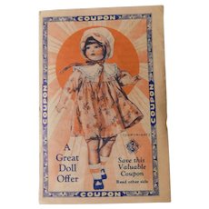 Old IDEAL Doll Coupon Advertising Trade Card Voigt Milling Company Grand Rapids Michigan Crescent Flour Premium