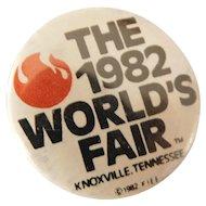 1982 World's Fair Knoxville Tennessee Pinback Button Metal Pin Souvenir Vintage