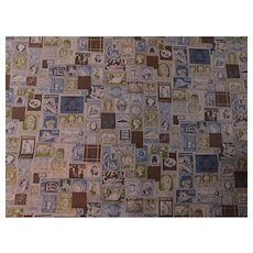 Mid Century Postal Stamp Philately Fabric Sewing Material International World Foreign Postage