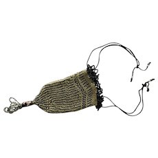 Antique Edwardian Black & White Seed Beads 5 inch Evening Bag Reticule with 2inch Tassel  Accented With Venetian Murano Wedding Cake Aventurine Glass Bead