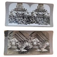 1898 Antique Victorian Spanish American War Stereoviews Photos Wisconsin Battleship Sailors and Wounded Soldiers in Santiago Hospital Stereo Optic Photographs