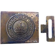 Original Antique World War I German Military Soldier Uniform Belt Buckle Gott Mit Uns WW1 Prussian Crown
