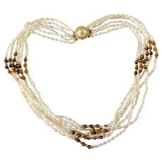 Polished Tiger Eye Beads & Genuine Pearls 6 Strands Necklace Gold Wash Over Stamped SILVER 18.5inches