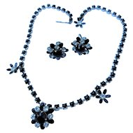 Vintage Signed Black & Ice Crystal Black Milk Glass Enamel Flower Choker Necklace & Screw Back Earrings Set