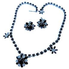 Vintage Signed WEISS Black & Ice Crystal Black Milk Glass Enamel Flower Choker Necklace & Screw Back Earrings Set