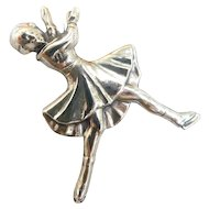 Signed Beau Sterling Figural Lady Ice Figure Skater Brooch Pin Sterling Silver