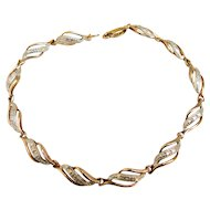 Sterling Silver 925 Gold Vermeil Plated Two Tone Classy Faux Diamond Bracelet