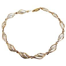Sterling Silver 925 Gold Vermeil Plated Two Tone Classy Faux Diamond Bracelet