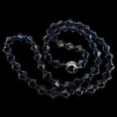 Art Deco Jet Black Glass Crystal Made in Czechoslovakia Signed Faceted Bead Necklace Choker Czech 15inches