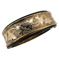 Antique Victorian Gold Fill Gilt Plated Bangle Bracelet Ivy Leaves Black Enamel Expanding Expansion