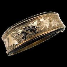 Antique Victorian Gold Gilt Plated Bangle Bracelet Ivy Leaves Black Enamel Expanding Expansion