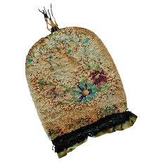 Antique Victorian Micro Tiny Glass Seed Beaded Flowers Purse Reticule with Tassel Hand Bag