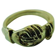14k Gold Signed Gimmel Ring Fede 3 Joined Joint Band Rings Gentleman's Hand Clasp Lady's Hand & Heart Gimmal Gemel 14KT