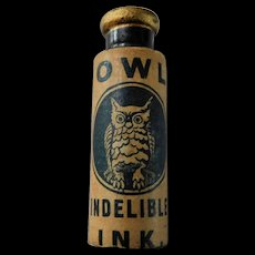 Antique Owl Indelible Ink Stamp Pen Miniature 1.75 inch Advertising Bottle Paper Label Black Glass with Pontil & Cork Stopper Rare