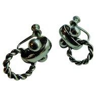 Solid Sterling Silver Doorknocker Dangle & Jingle Earrings Screw Back Style for Non Pierced