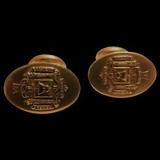 Krementz Art Deco U.S. Naval Academy Annapolis USNA Logo in Detailed Relief Cufflinks 14k Gold Overlay Cuff Links