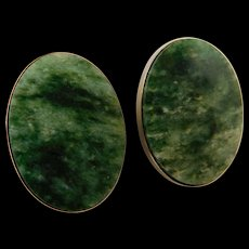 Vintage Spinach Jade Nephrite Gold Fill Wash Plated Large Clip On Earrings 1inch x 3/4inch Oval